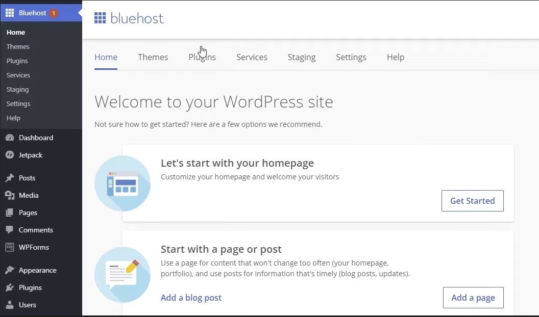 WordPress blog dashboard