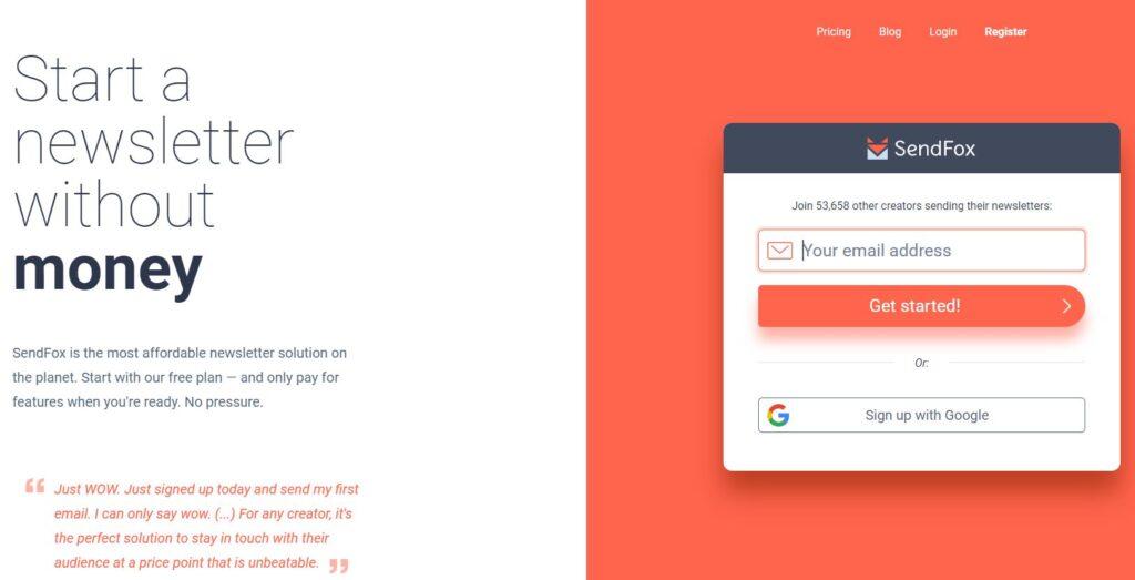 sendfox - free mailchimp alternative