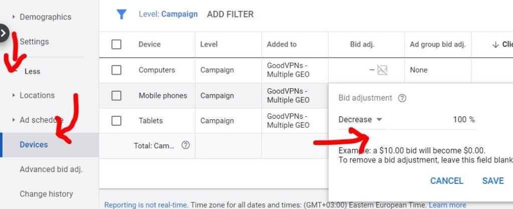 adjust bidding on devices