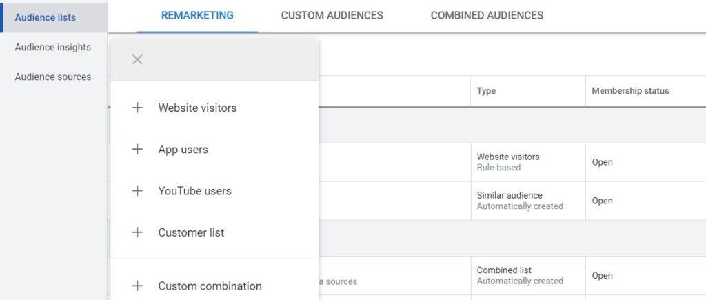 create remarketing list in google ads