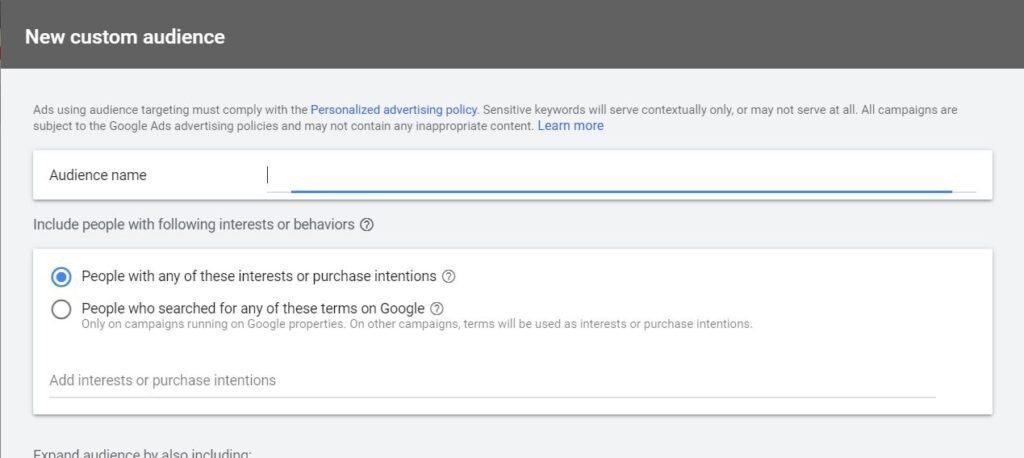 create custom audience in google ads