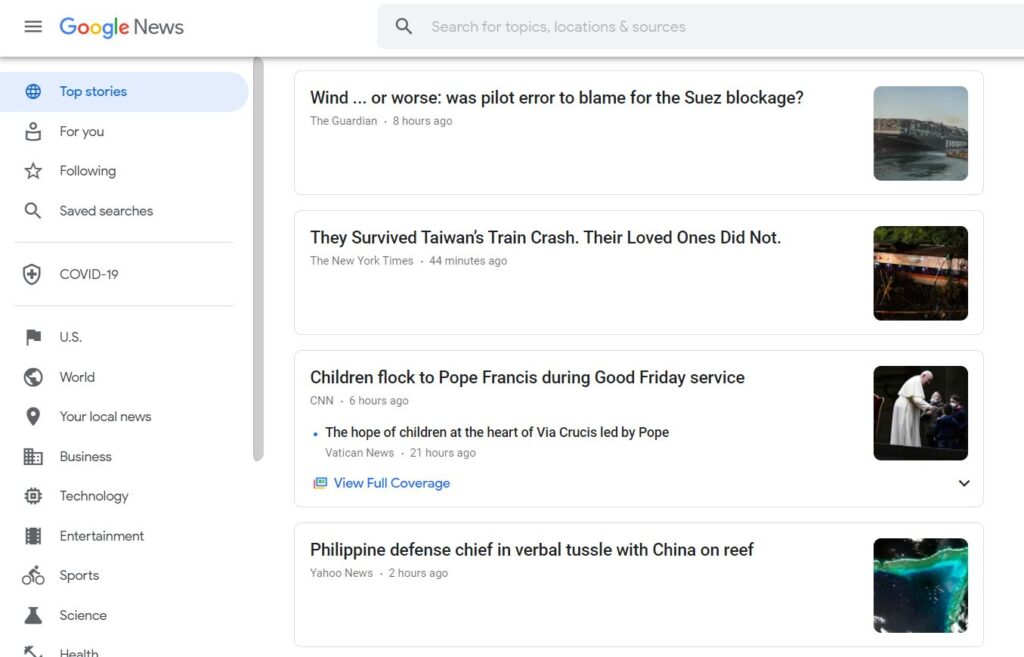 Google news search results