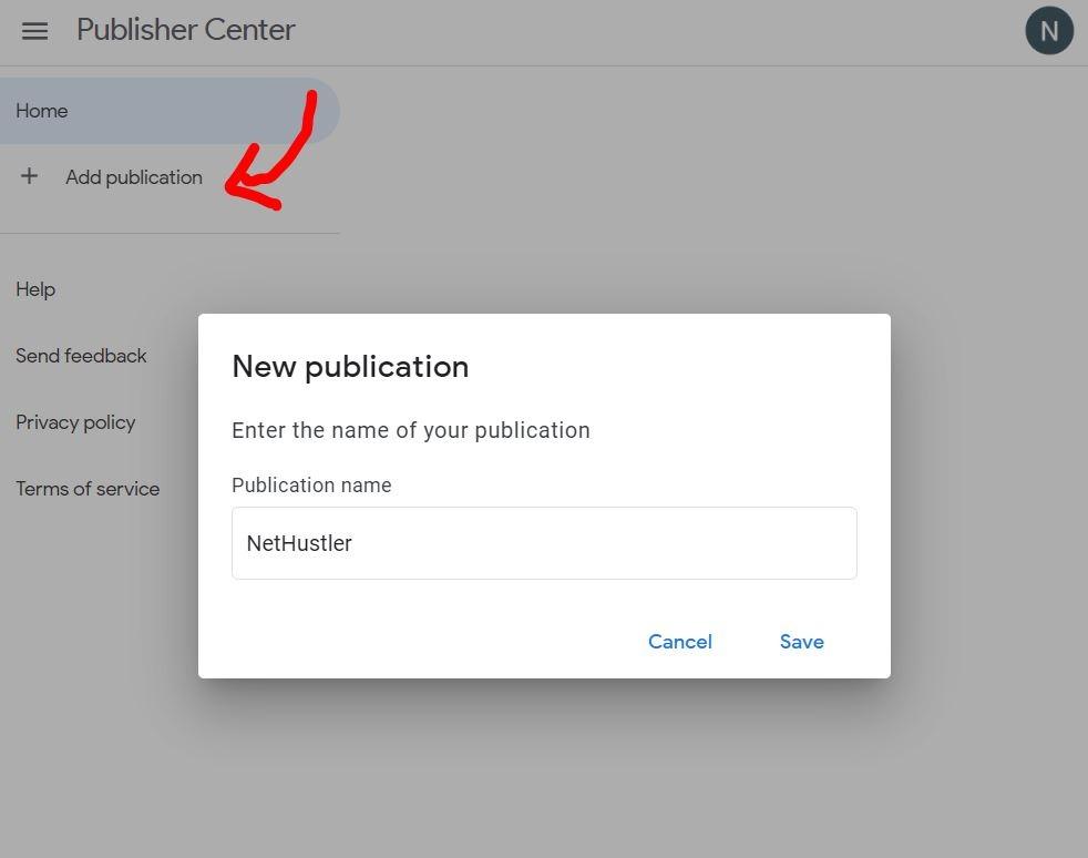 Publisher center Add Website