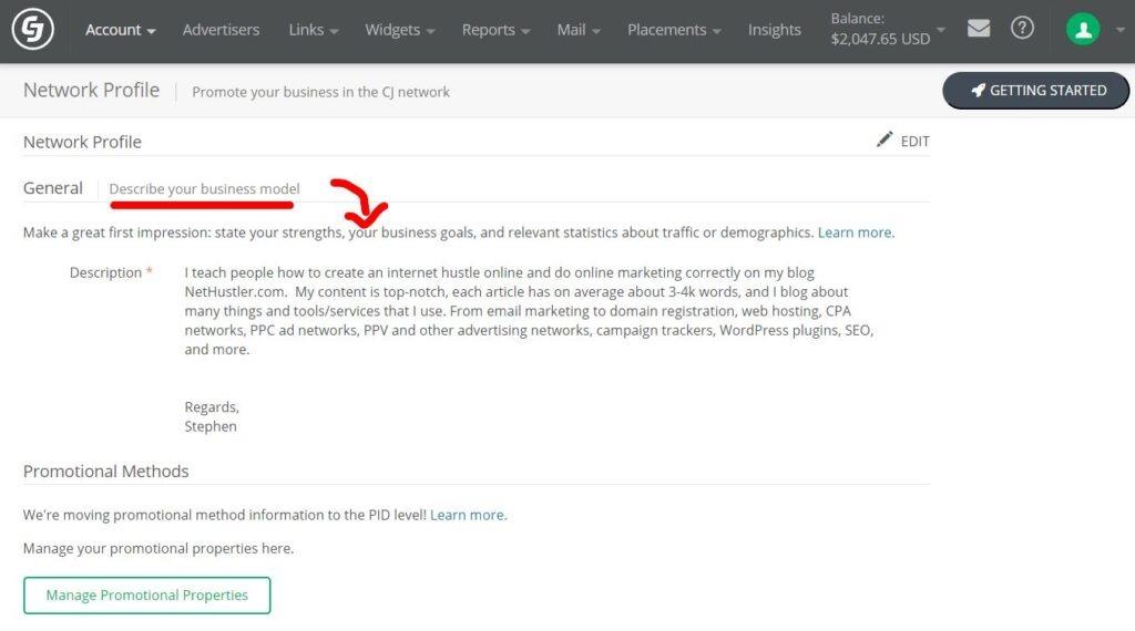 CJ affiliate network profile