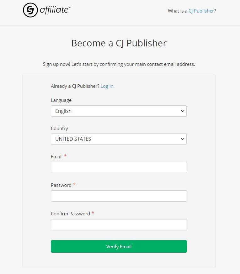 sign up cj affiliate