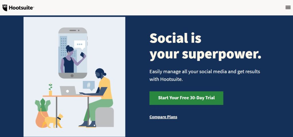 Hootsuite digital marketing tool for managing social media