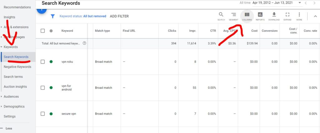 how to enable quality score in Google Ads