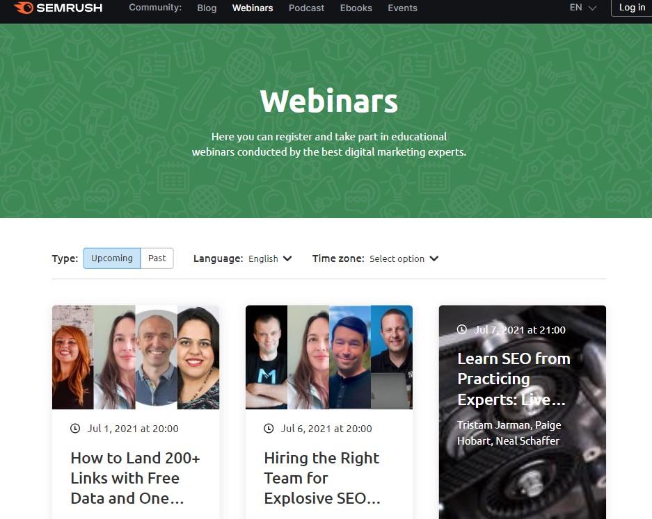 semrush webinars - attraction marketing example